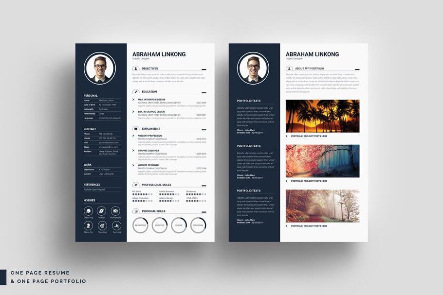 黑色简约现代简历模板 Modern Resume 3 Pages插图(1)