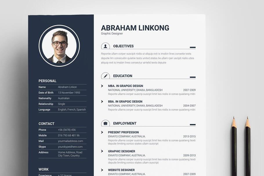 黑色简约现代简历模板 Modern Resume 3 Pages插图