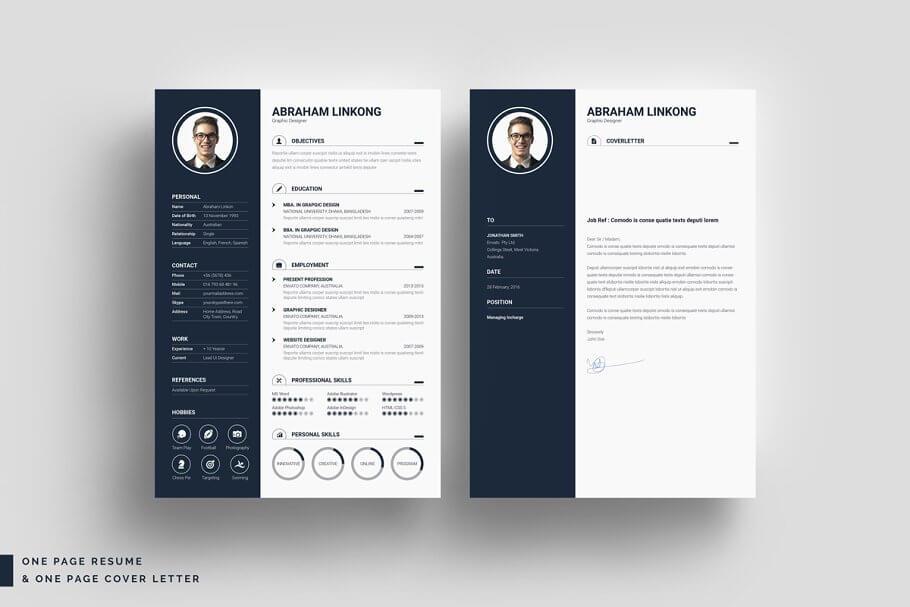 黑色简约现代简历模板 Modern Resume 3 Pages插图(2)