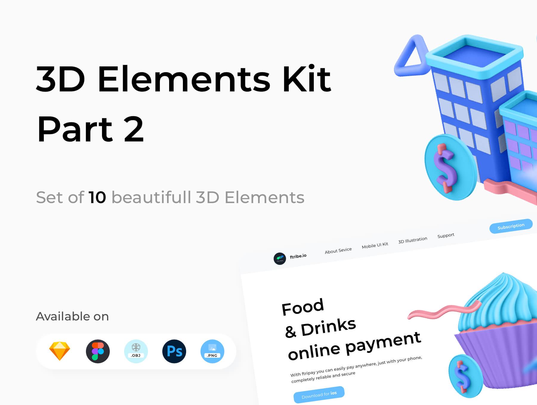 3D电商购物场景类矢量素材模版插图