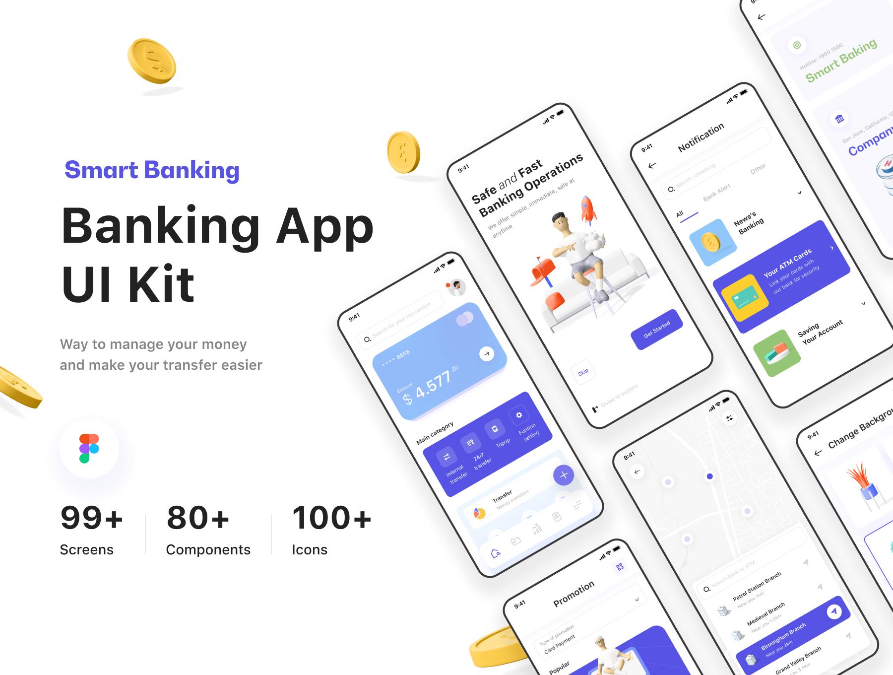 智能银行UI套件 财务管理解决方案 模版素材插图