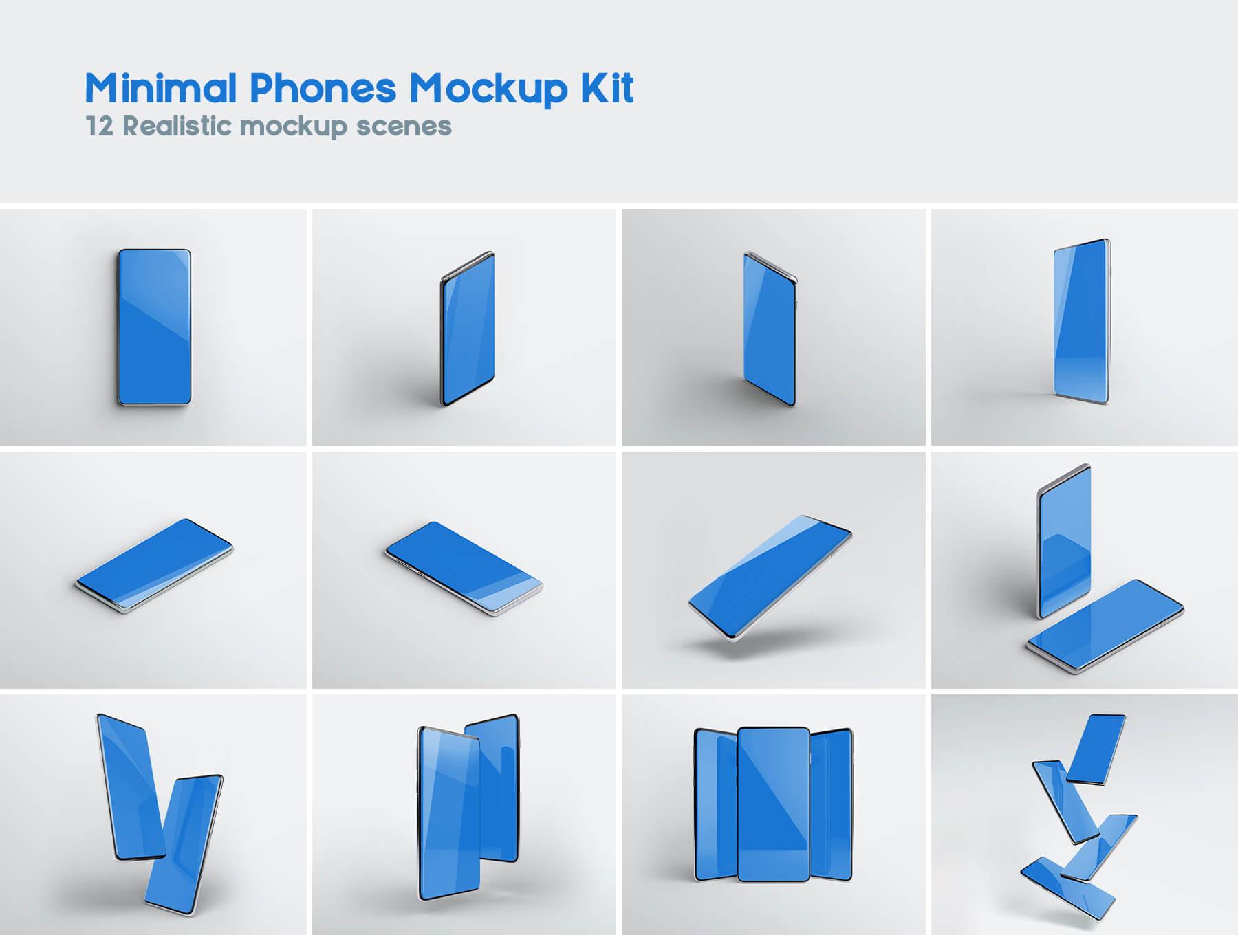 三星Galaxy S10最小电话样机套件模版素材Minimal Phones Mockup Kit插图(6)