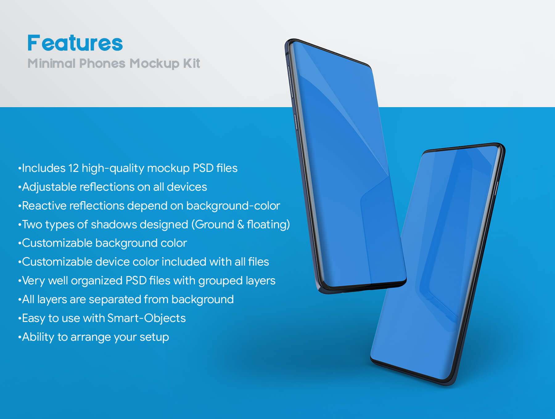 三星Galaxy S10最小电话样机套件模版素材Minimal Phones Mockup Kit插图(7)
