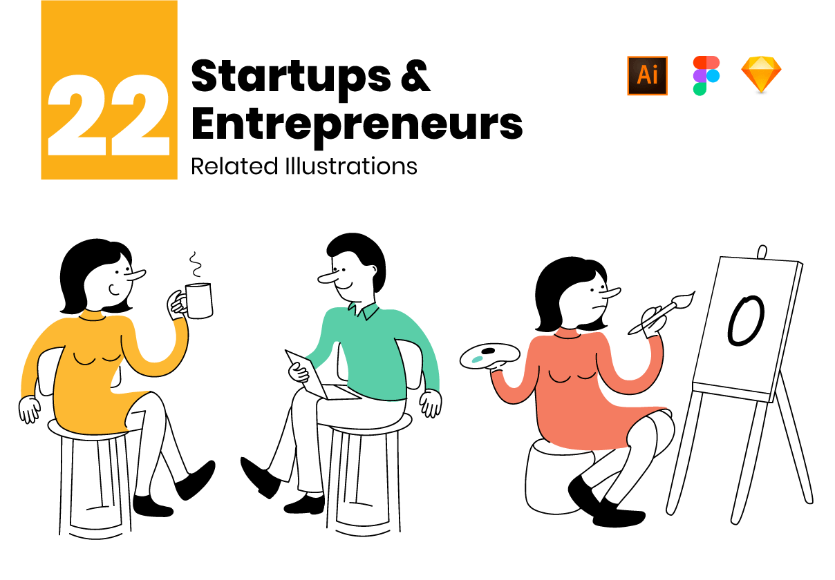 初创企业和企业家矢量场景插图素材插图