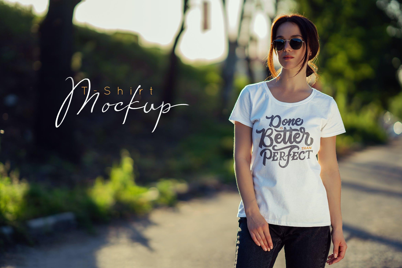 女性T恤样机文艺素材模版下载5FVTMF8插图