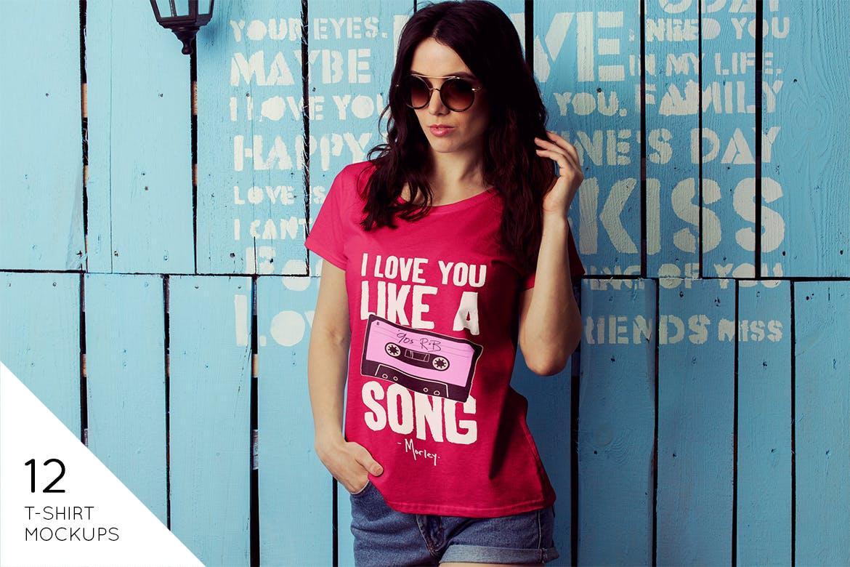 女性T恤样机模版素材下载D7NBRN插图