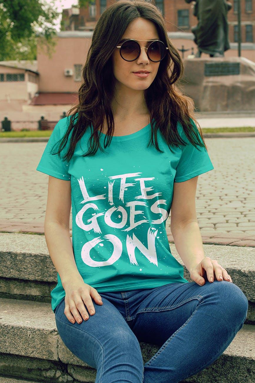 女性T恤样机模版素材下载D7NBRN插图(5)