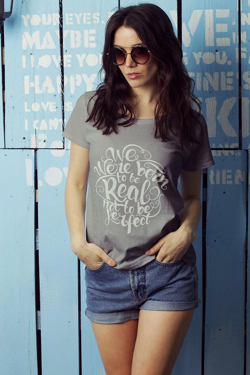 女性T恤样机模版素材下载D7NBRN插图(6)