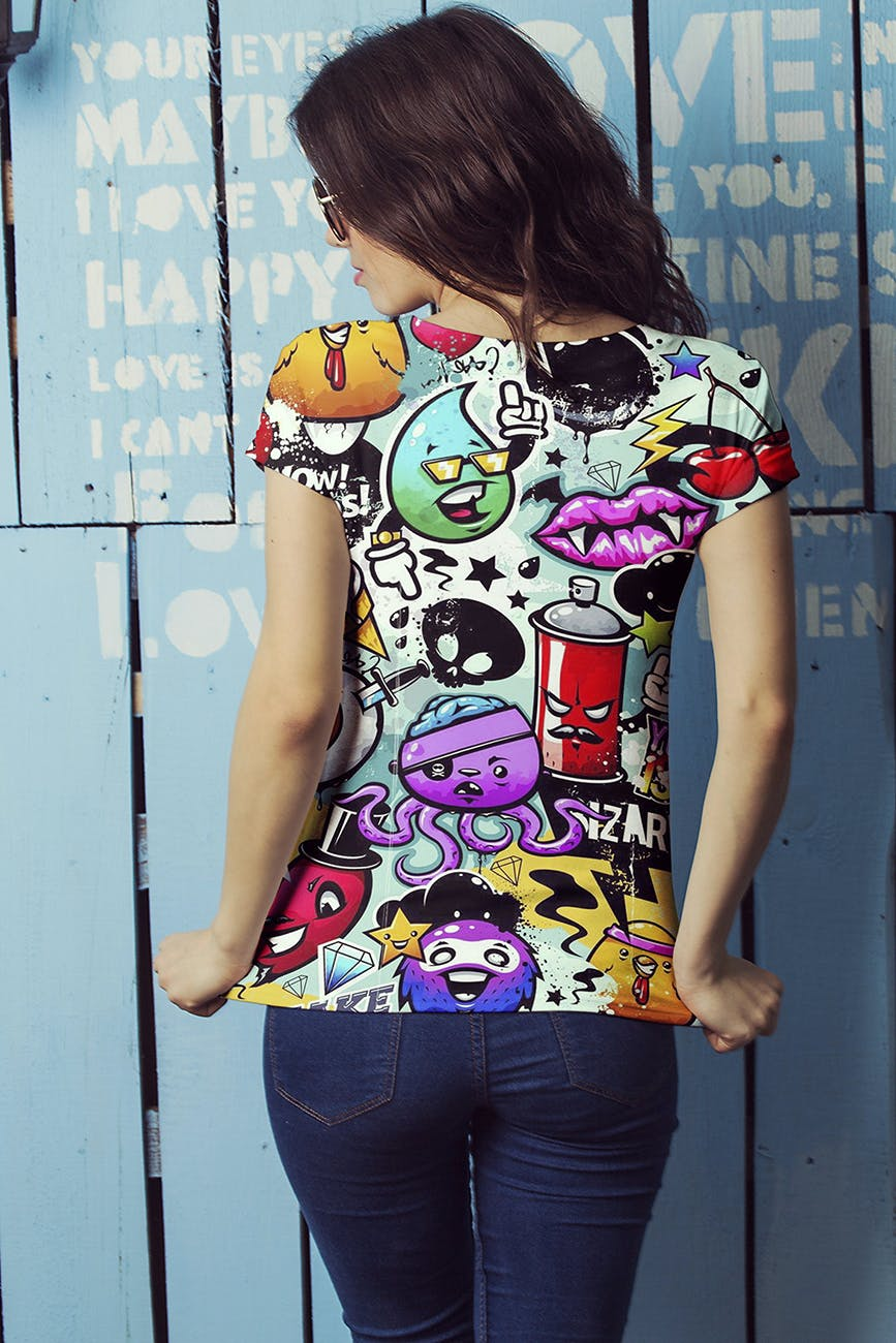 女性T恤样机模版素材下载D7NBRN插图(3)