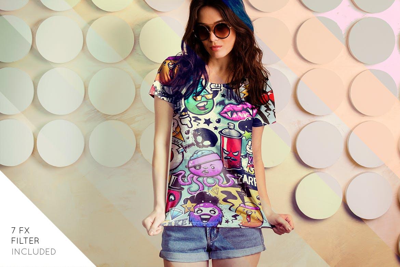女性T恤样机模版素材下载D7NBRN插图(2)
