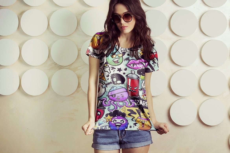 女性T恤样机模版素材下载D7NBRN插图(9)