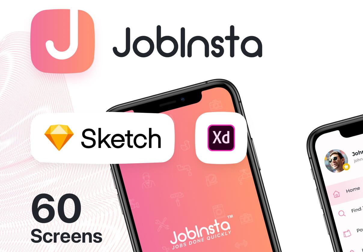 在线服务行业移动应用程序模版素材JobInsta UI Kit插图