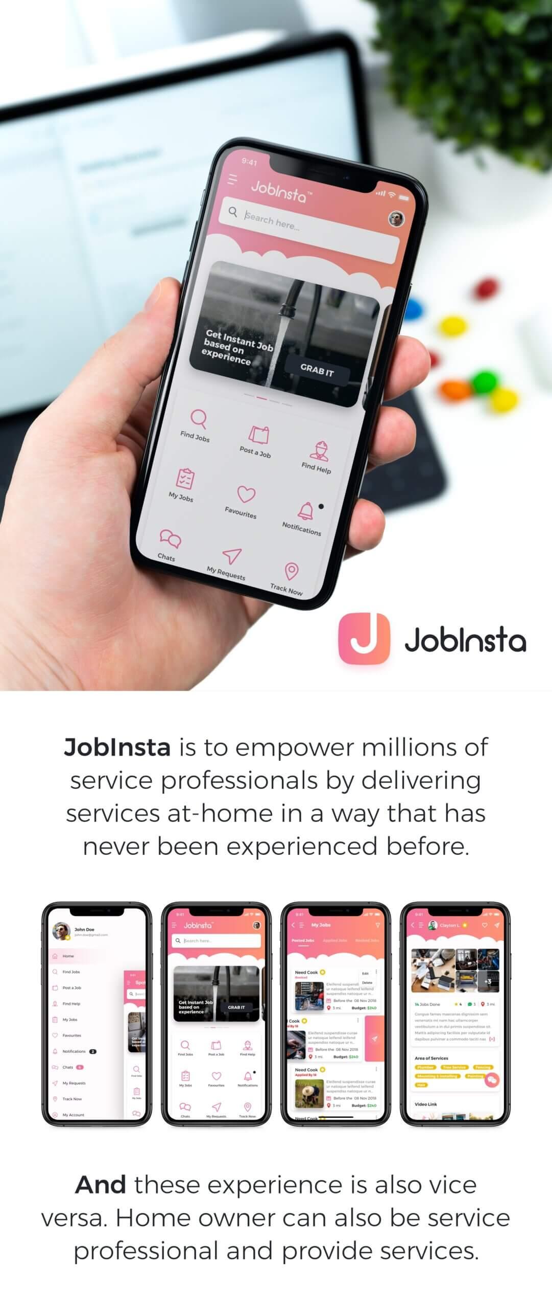 在线服务行业移动应用程序模版素材JobInsta UI Kit插图(1)