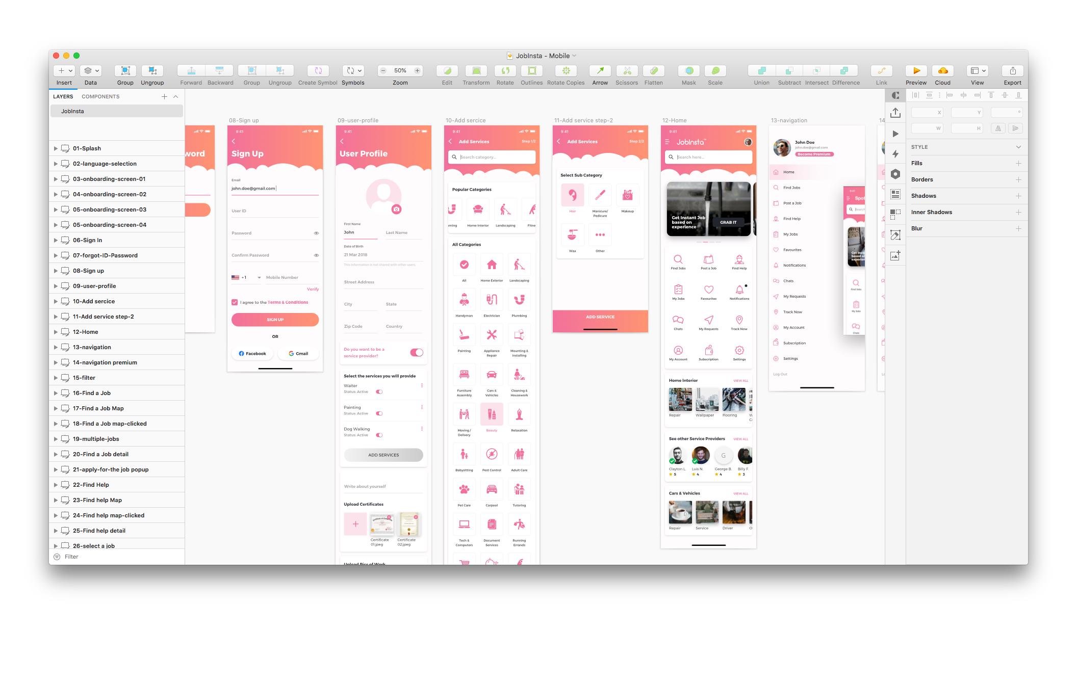在线服务行业移动应用程序模版素材JobInsta UI Kit插图(2)