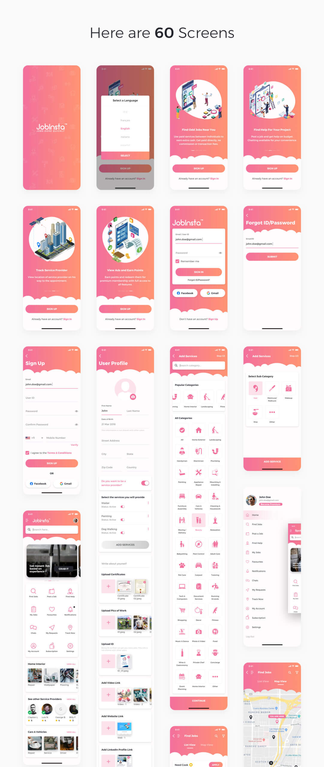 在线服务行业移动应用程序模版素材JobInsta UI Kit插图(3)