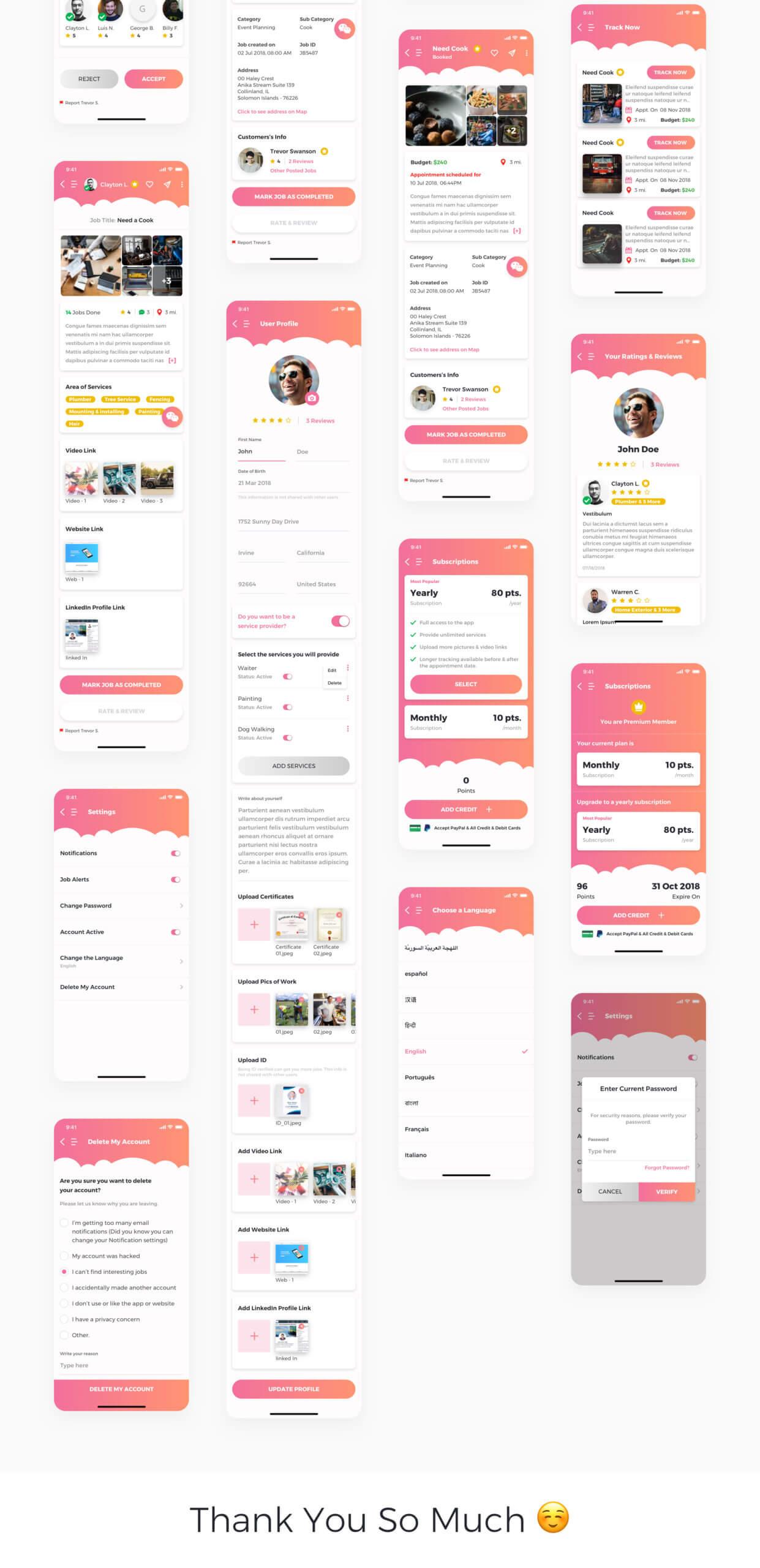 在线服务行业移动应用程序模版素材JobInsta UI Kit插图(6)