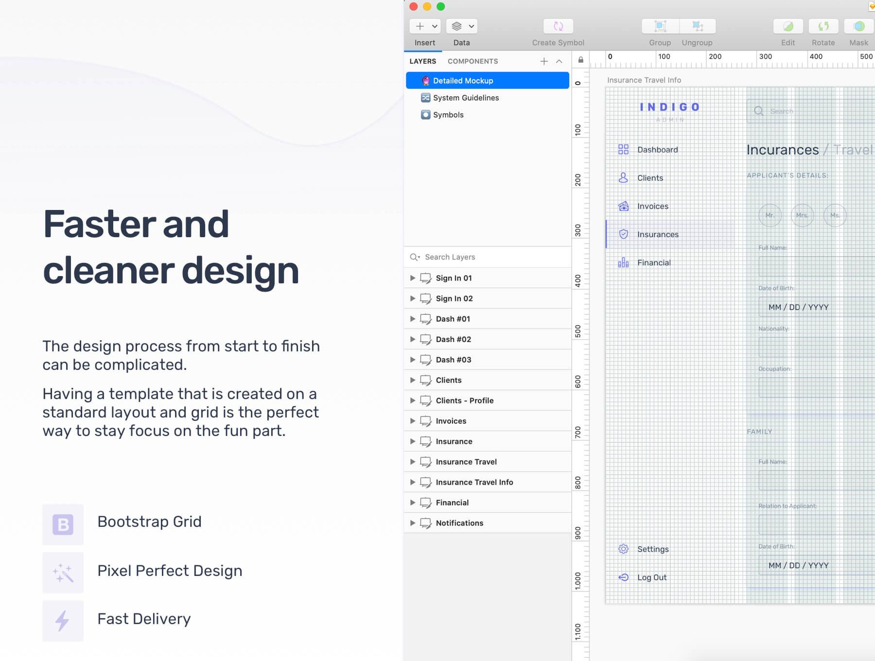 互联网中台系统仪表板Web UI套件模版素材下载 Indigo Insurance Admin Dashboard Web UI Kit插图(3)