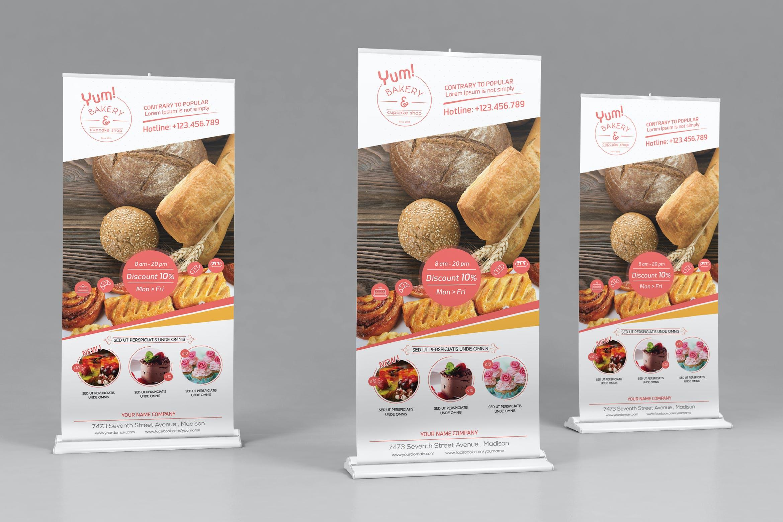 面包和蛋糕店营业时间/汇总宣传海报模板易拉宝样机素材L6BT4X插图