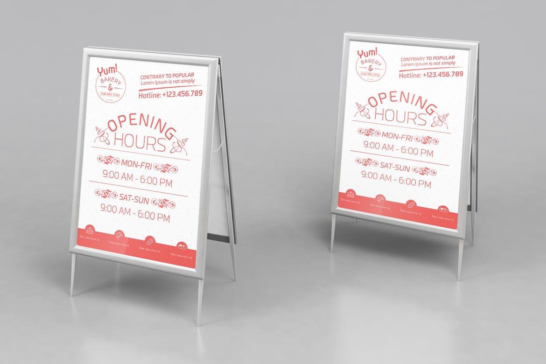 面包和蛋糕店营业时间/汇总宣传海报模板易拉宝样机素材L6BT4X插图(1)