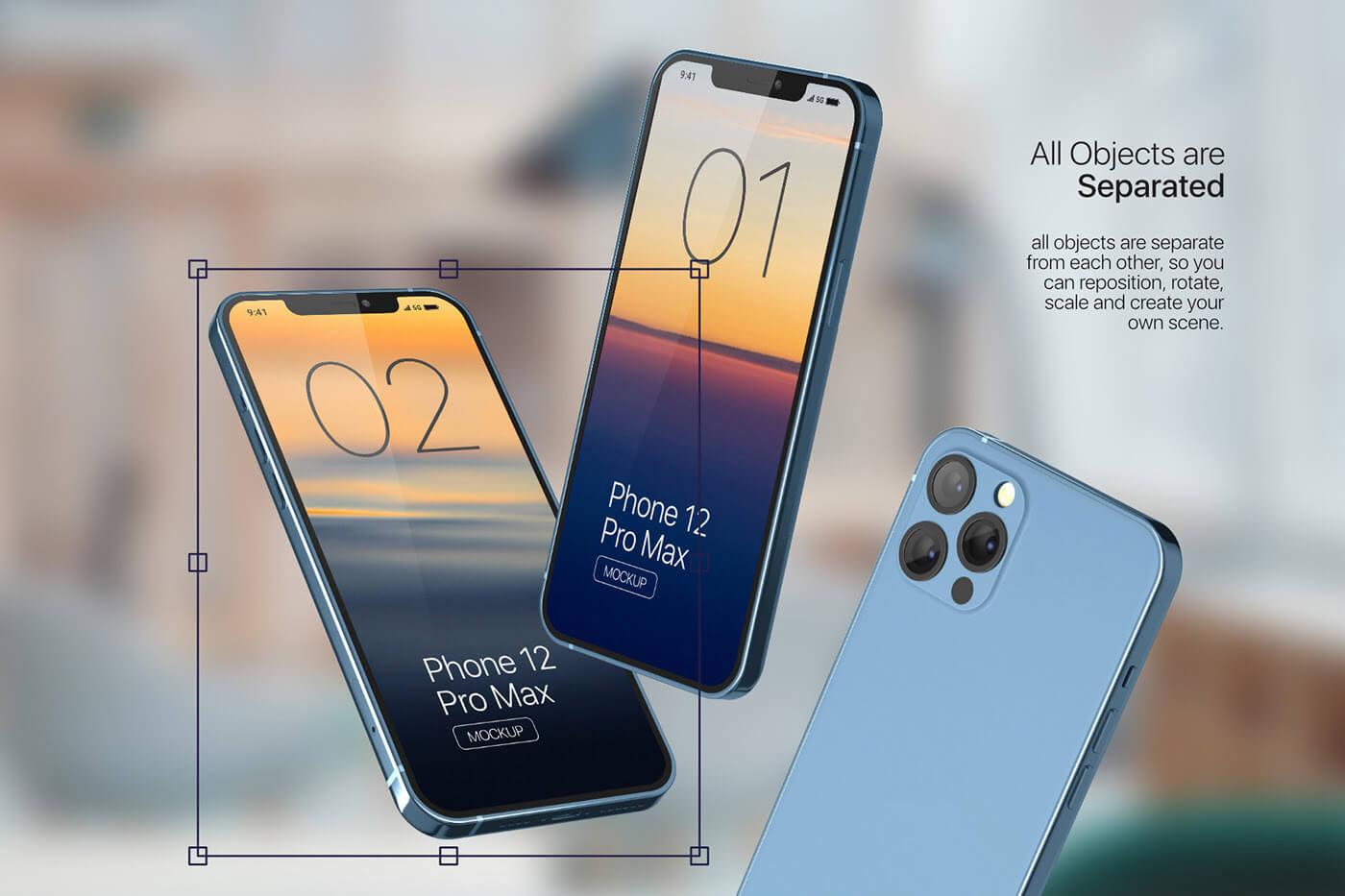 苹果手机12样机精致模版手机多角度展示模版素材iPhone 12 Pro Max Mockup V.01插图(2)