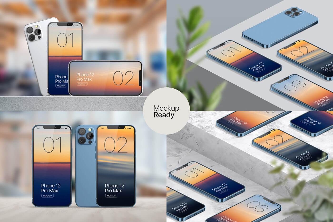 苹果手机12样机精致模版手机多角度展示模版素材iPhone 12 Pro Max Mockup V.01插图(7)