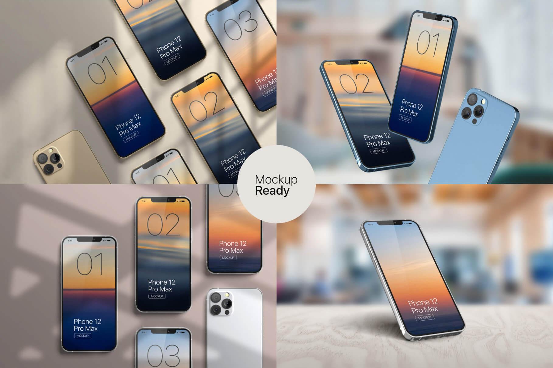苹果手机12样机精致模版手机多角度展示模版素材iPhone 12 Pro Max Mockup V.01插图(6)