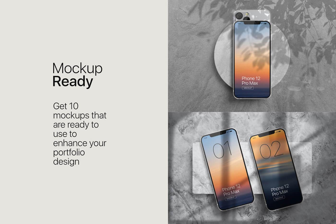 苹果手机12样机精致模版手机多角度展示模版素材iPhone 12 Pro Max Mockup V.01插图(5)