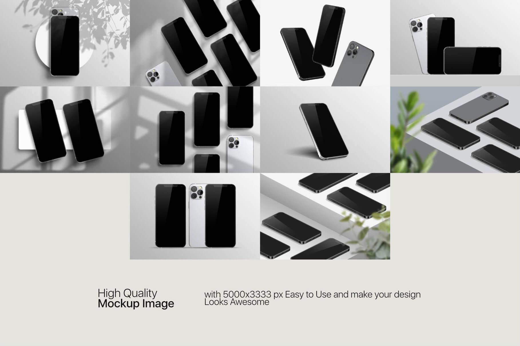 苹果手机12样机精致模版手机多角度展示模版素材iPhone 12 Pro Max Mockup V.01插图(8)